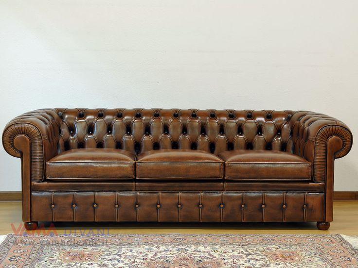 Divano Chesterfiel 3 posti in pelle vintage - Chesterfield Sofa
