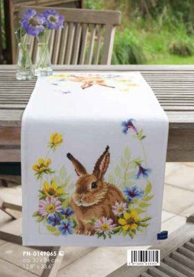 click here to view larger image of Hare in Flowers Table Runner (counted cross stitch kit)