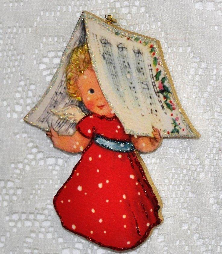 Little Blonde Girl Under Newspaper Christmas ~ Glittered Vintage Image Ornament | eBay