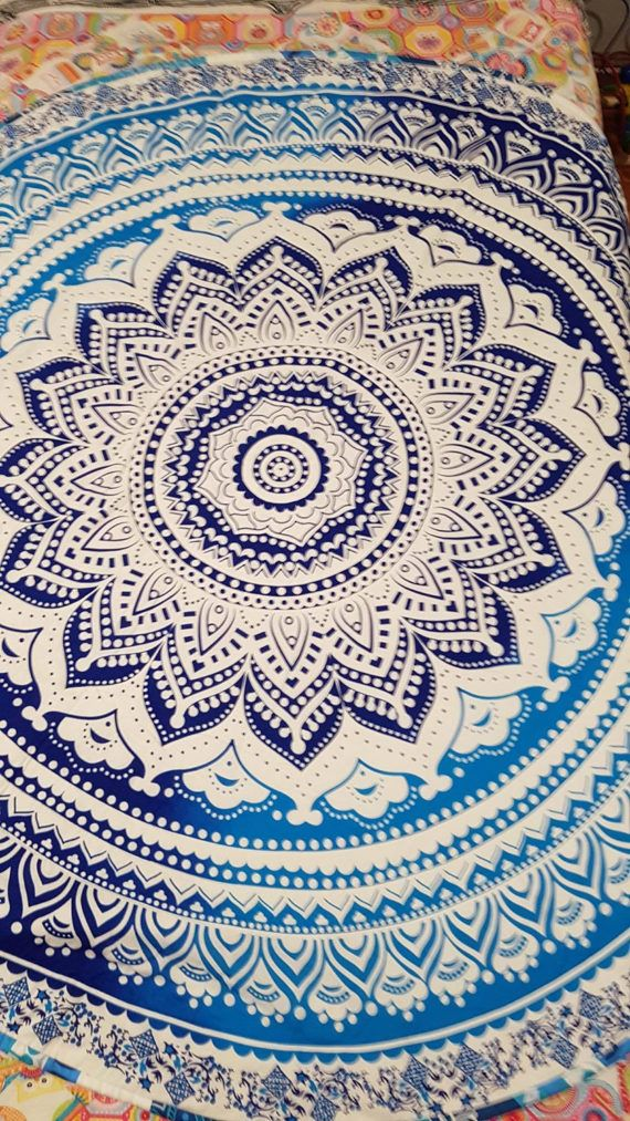 A must for Mandala Lovers 130cm diameter, Indian cotton roundie transformed into a beautiful quilt. All cotton batting used, machine washable, line dry. Perfect for bed, baby, yoga or picnic rug. We have only a few of these, so be quick. we have a stunning red one too, see separate listing Coming soon is full size rectangle mandala quilts