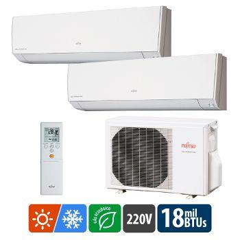Ar-Condicionado-Multi-Split-Fujitsu-High-Wall-Inverter-18.000-BTUs---2x-Evap.-9.000---Quente-e-Frio-220v-ASBG09LMCA