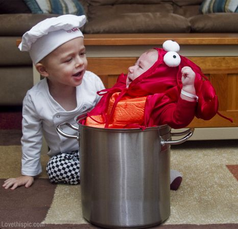 Chef and Lobster costume babies party halloween kids costumes kids costume ideas diy costume ideas