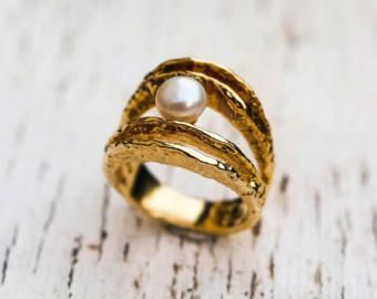 pearl ring, 925 sterling silver ring, gold plated ring, alternative engagement ring, wedding ring, greek jewelry, designer ring, art ring