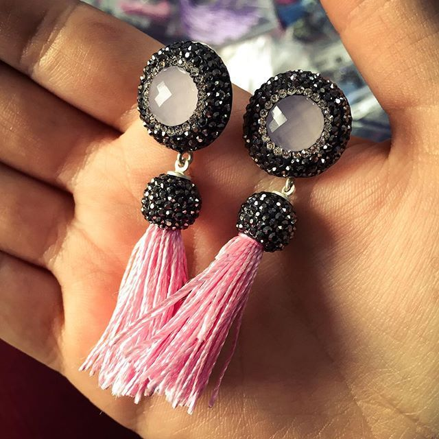 The #color #pink #makes #everything #look #pretty  #saturday #weekend #relax #druzy #design #fringe #earrings #exclusive #collection #jewelry #cool #sterling #silver #women