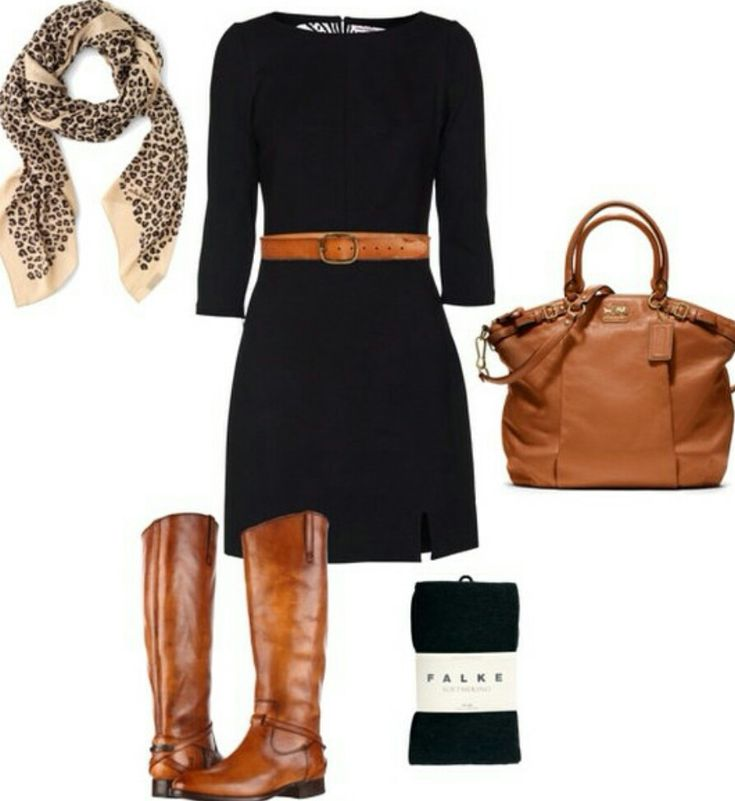 I really like the mix of black + brown, especially in a dress