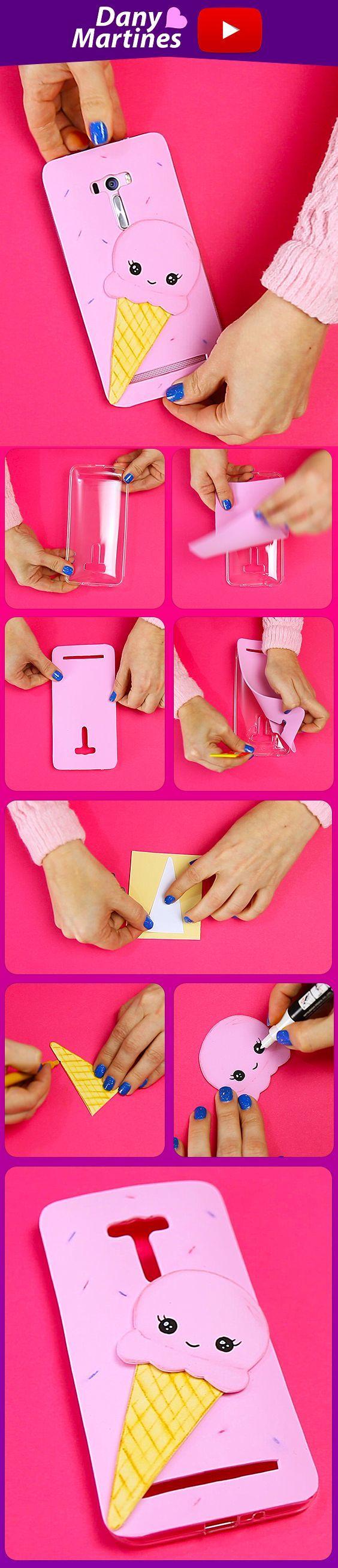 Faça você mesmo uma linda capinha de celular de sorvetinho kawaii, muito fácil e feita com EVA, linda. DIY, do it yourself, Dany Martines