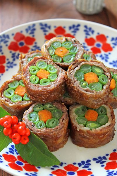 作り置き出来る牛肉と野菜のお花巻き☆持ち寄りやおもてなしに・・・ - ぱおのおうちで世界ごはん☆