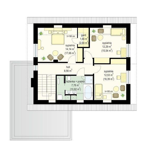 Projekt domu Viking 2 - rzut poddasza