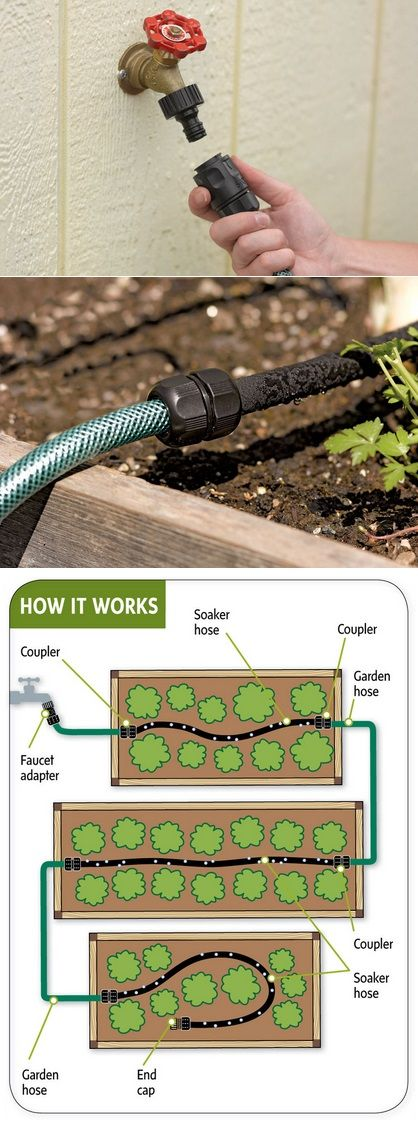 Easy garden watering- splicing soaker hose many places with reg. garden hose to water raised gardens..