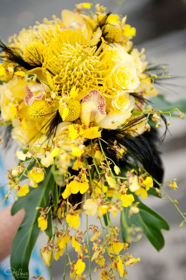 Modern Yellow And Black Trailing Bouquet Featuring
