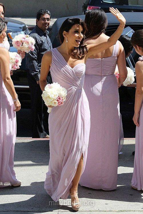 Fashion One Shoulder Bridesmaid Dresses, Chiffon Ankle-length Bridesmaid Gowns, Split Front Bridesmaid Dress