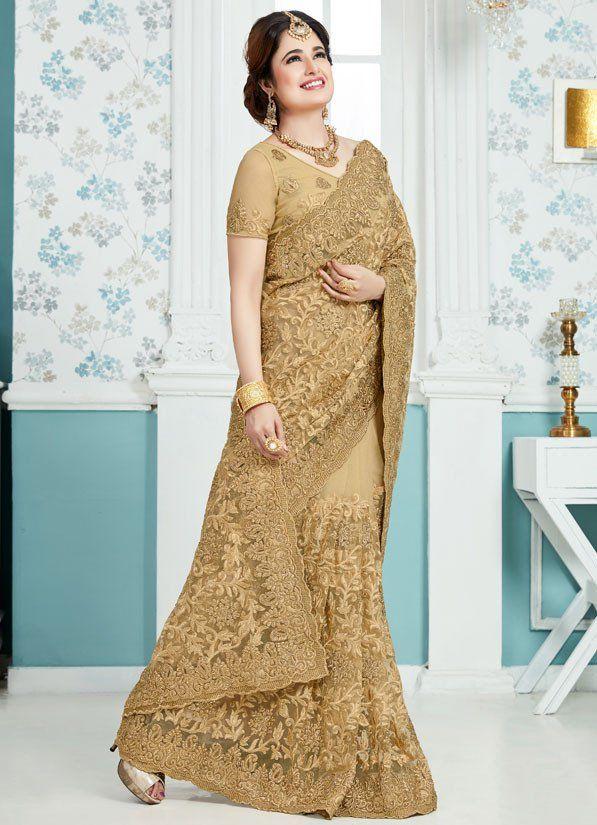 Yuvika Chaudhary Beige Designer Net Saree