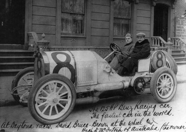 A 125 hp Benz racing car with driver David Bruce Brown at the wheel and owner Hugh D. McIntosh of Australia (ca. 1908). | Florida Memory