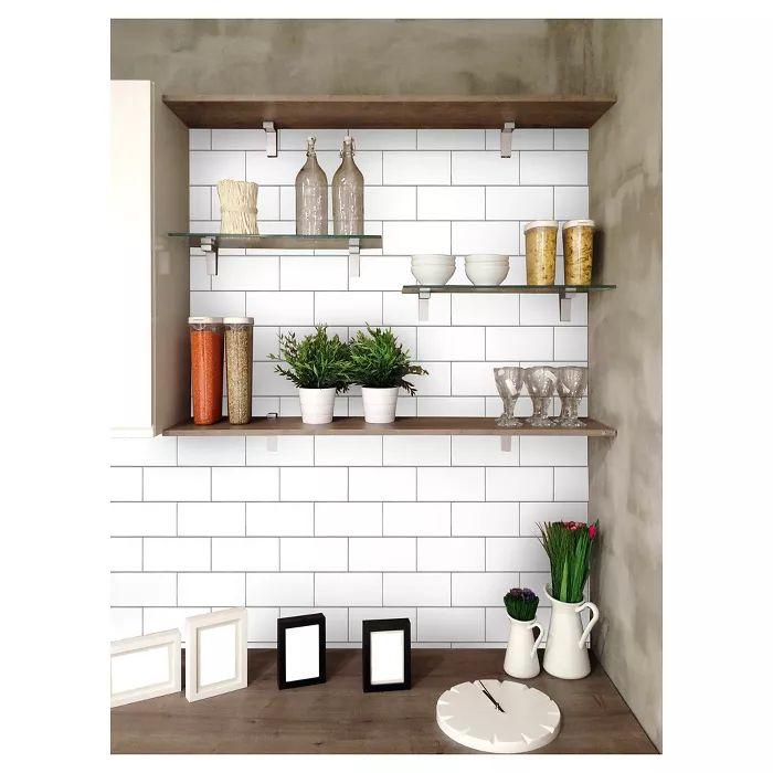 Subway Tile Peel & Stick Wallpaper White - Threshold ...