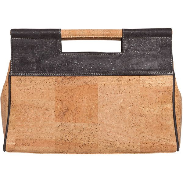 Handbag in Natural and Black Cork ($199) ❤ liked on Polyvore featuring bags, handbags, man bag, handbags crossbody, cork purse, satchel hand bags and hand bags
