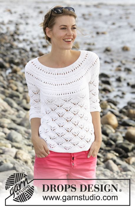 "Clara / DROPS 170-7 - Knitted DROPS jumper with lace pattern, round yoke and ¾ sleeves in ""Cotton Light"". Size: S - XXXL."