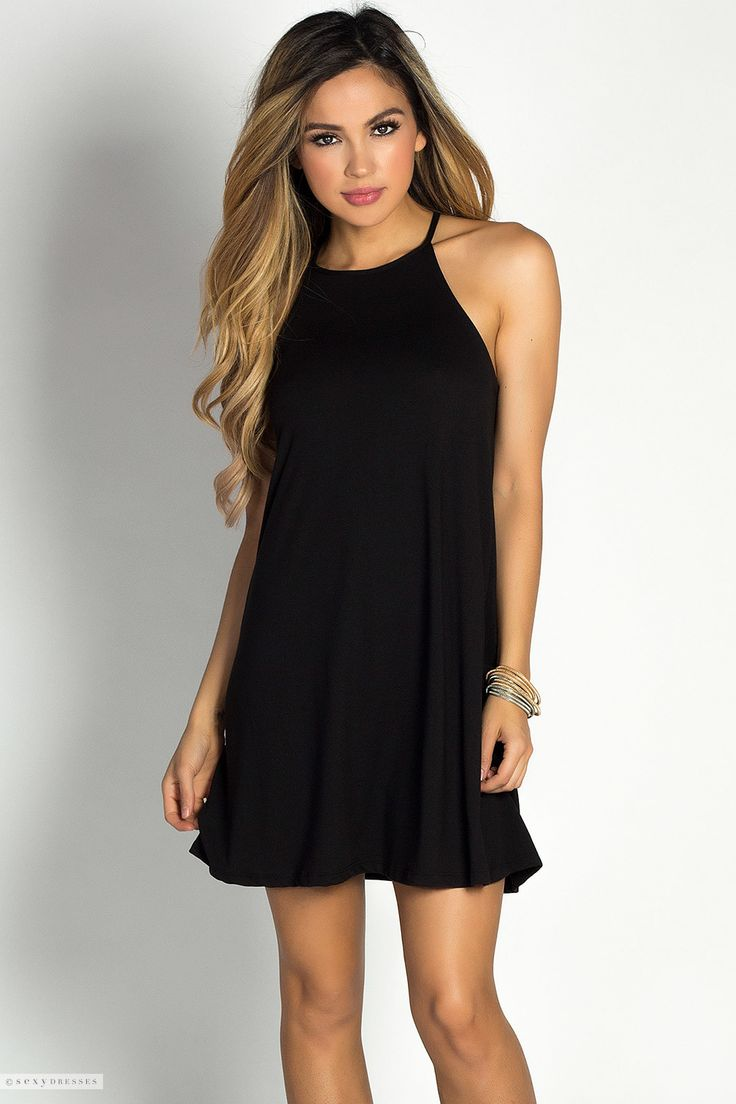 Jersey High Neck Notch Hem Short Black Tunic Trapeze Dress