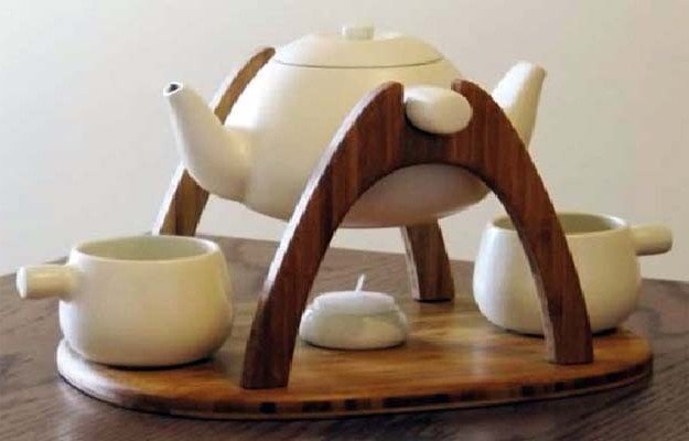 White teapot / tea set with double spout and wood holder / tray with warmer candle