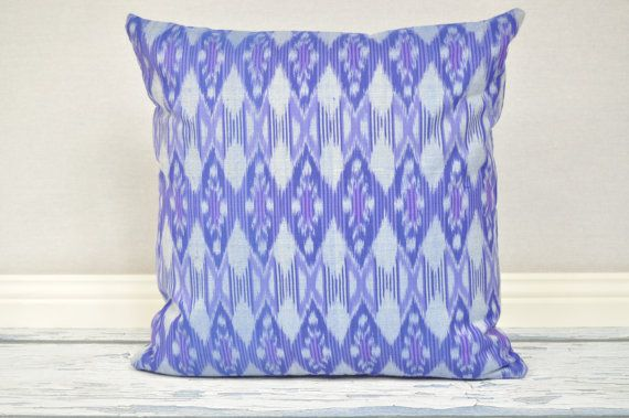 Blue Violet Ikat 18 x 18 cushion cover by IkatPikat on Etsy