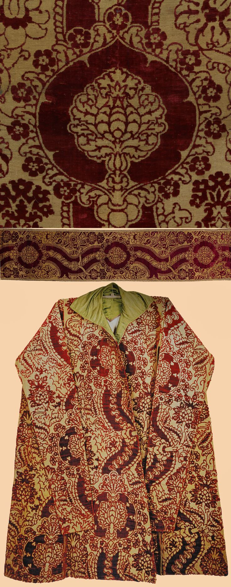 Antique Italian Textile.One of the great masterpieces of mid 15th century Italian cut velvet. Antique cut Velvet with Gold thread the pattern unit measures about 77x28.5cm Mid 15th Century. Associated with Mehmet IV