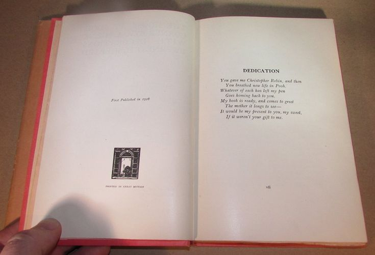 inside  The House at Pooh Corner first edition 1928 notation