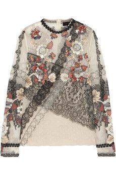 Biyan Jillian embroidered point d'esprit and lace top | THE OUTNET