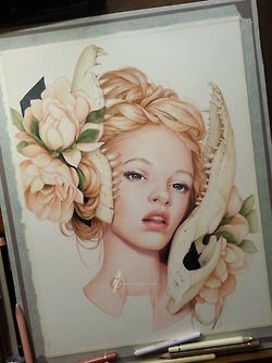 Finally complete! Face is based on Ginta Lapina. Materials used:Polychromos colored pencilsCream Stonehenge paper