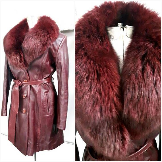 Vintage 90s Oxblood Leather and Fox Fur Jacket Elaborate fox