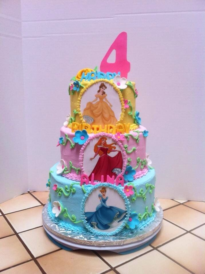Three Layer Princess Cake Frosted In Buttercream With