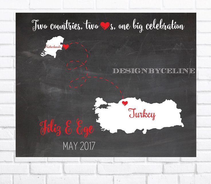 Ülkeler arası harita davetiye | DesignByCeline #designbyceline long distance map invitation
