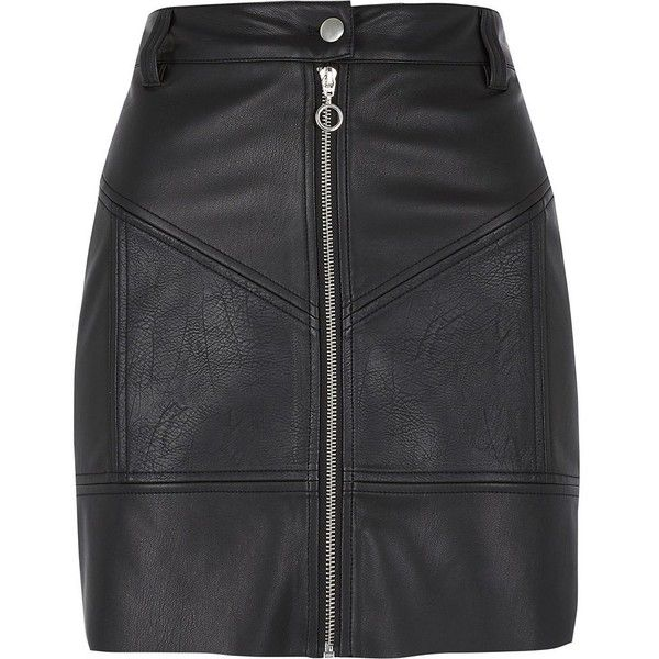 River Island Black faux leather zip biker mini skirt ($64) ❤ liked on Polyvore featuring skirts, mini skirts, black, women, high waisted skirt, high-waist skirt, high rise skirts, zip up skirt and faux-leather skirts