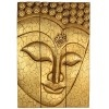Buddha Face : Hand Carved Wooden Wall Art Decor Plaque, Solid Teakwood 20x30 inc Golden Colour