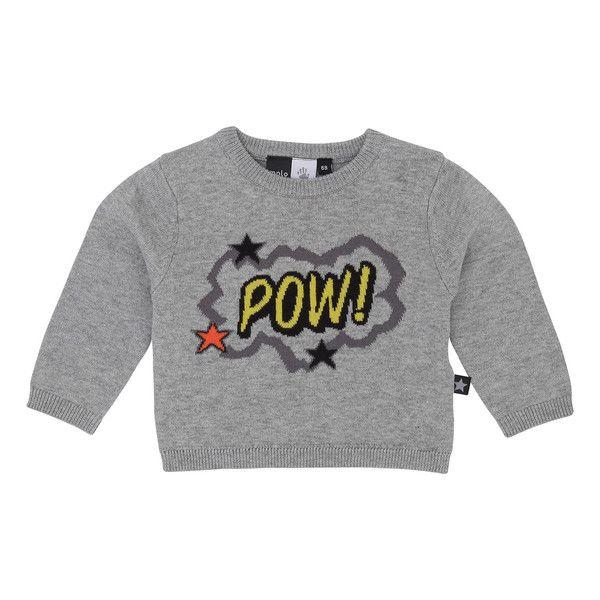 "Molo Bart Grey Melange ""POW"" Sweater – Juicytots"