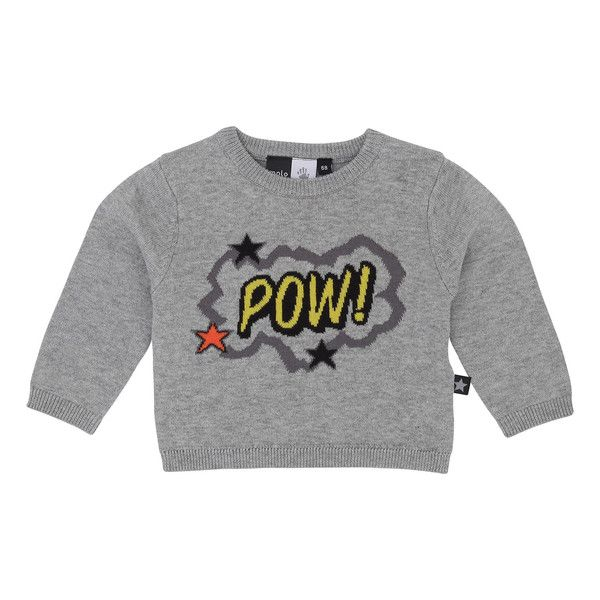 "Molo Bart Grey Melange ""POW"" Sweater – Juicytots"