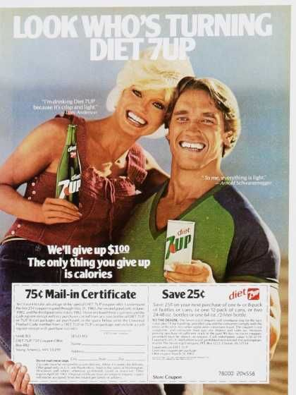 Diet 7-Up ad with Loni Anderson and Arnold Schwarzenegger Vintage Fitness Ads of the 1980s