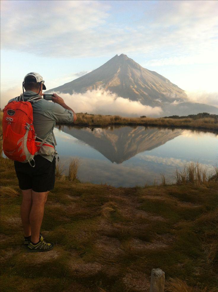 Capturing the iconic reflection shot of Mt Taranaki at the Pouakai tarn