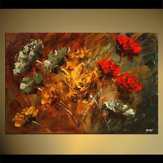 Flores abstractas originales pintura flor por por OsnatFineArt