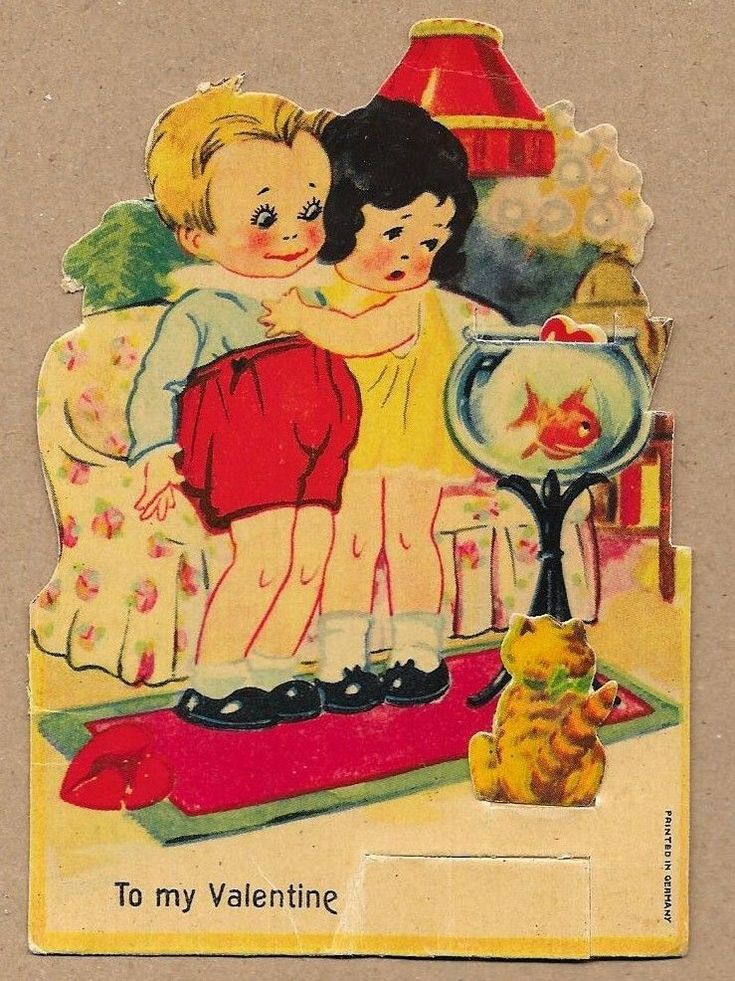 Vintage Mechanical Germany Comic Valentine~Fish Jumps out of Bowl~Cat Watching a