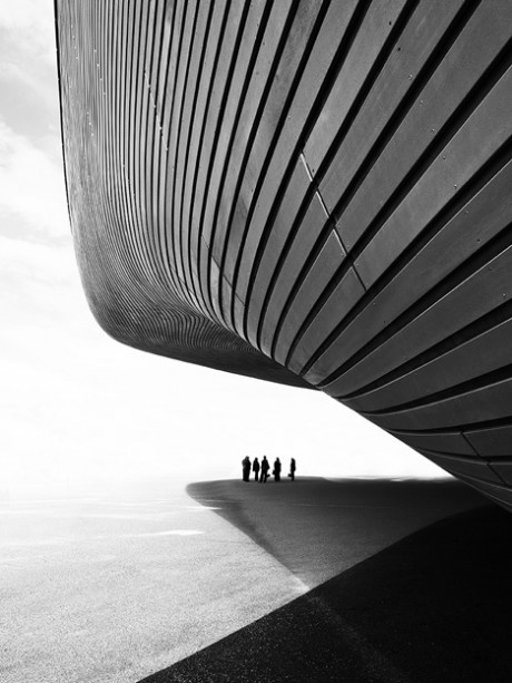 Aquatics Centre by Zaha Hadid, photographed by Luke Hayes