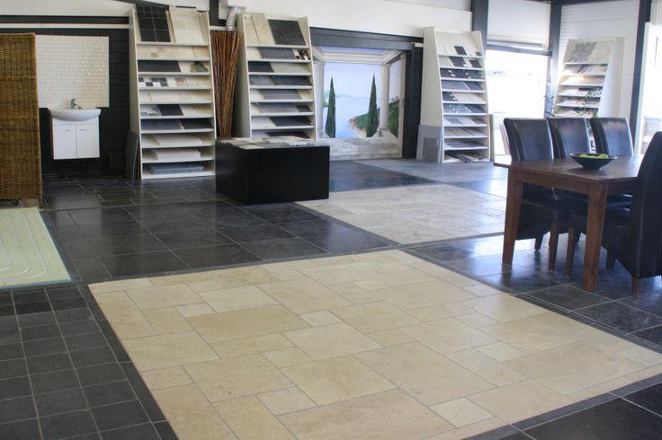 Natuursteen vloeren op de boven verdieping van Tegelhuys Wijhe