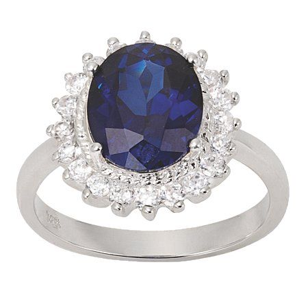 Sterling Silver CZ and Sapphire CZ Ring P Silver - Silver - Rings - Jewellery - The Warehouse