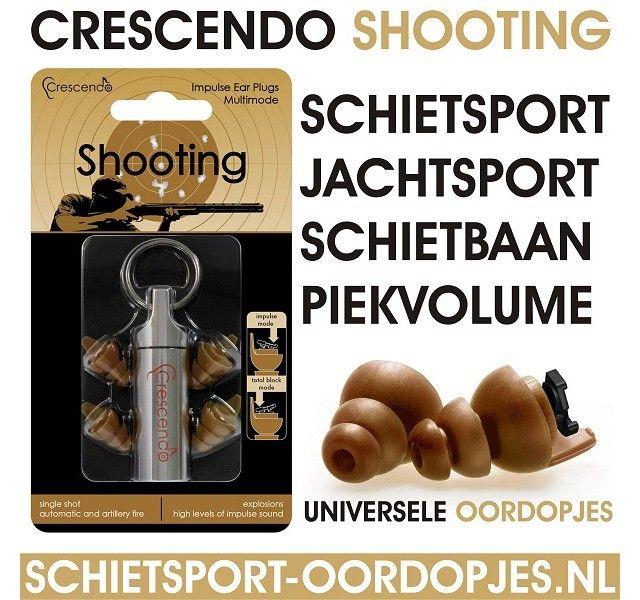 Schietsport-Oordopjes.nl #Crescendo Shooting de beste oordopjes voor de #schietsport dankzij het speciale filter voor impulsgeluid met full block switch. Oordoppen voor op de #schietbaan
