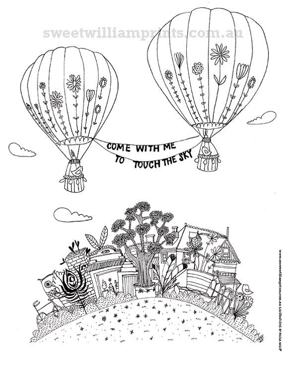 Colouring in page printable illustration instant download