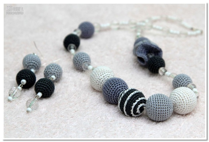 SALE - Crochet Natural  Nursing  necklace/Teething Necklac & earrings -grey, dark grey, white, natural wooden beads