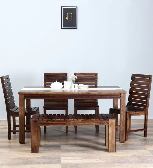Glen Six Seater Dining Set With Bench Reflects Designs That Are Current Or En Vogue