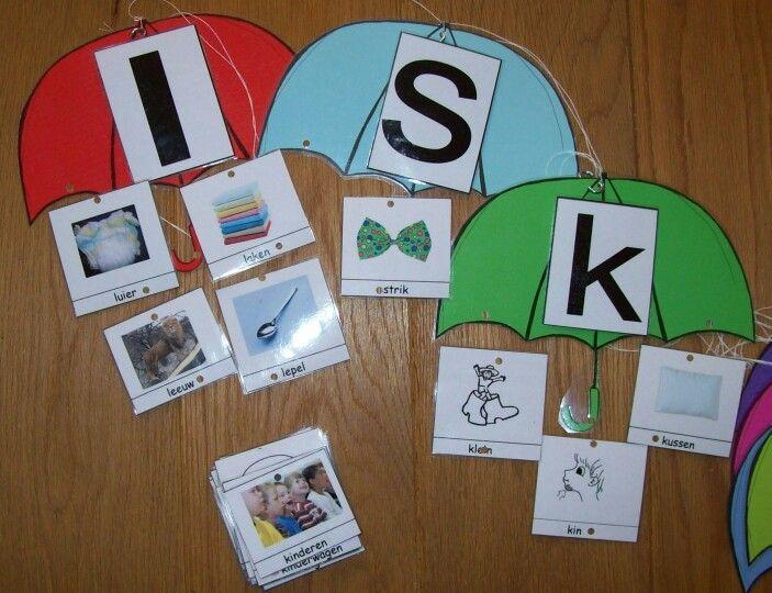 Woorden met dezelfde beginletter aan de paraplu. Woordenschat en letterkennis. Kan ook sorteer werkje zijn