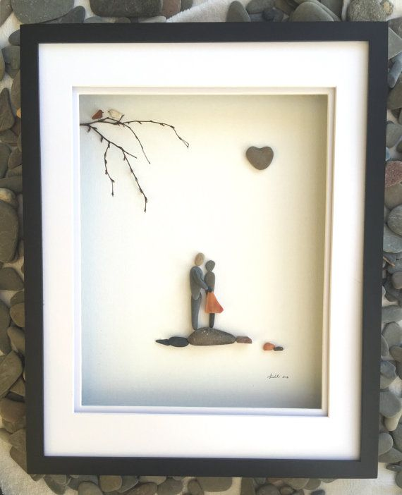 "Unique Gift Pebble Art 16"" x 20"" Couple Modern Wall Art Abstract Contemporary Signed."