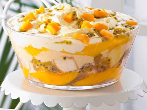 Mango and passion fruit trifle