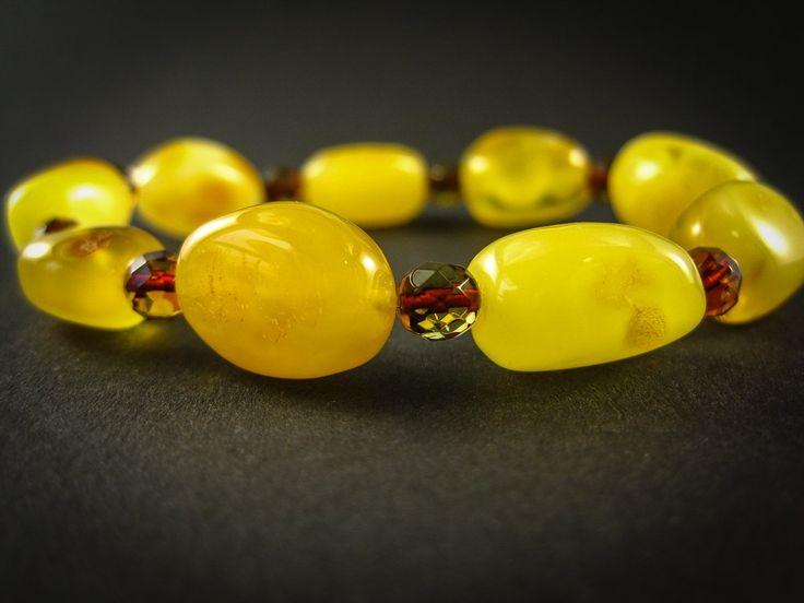 Genuine Handmade Amber Bracelet, Egg-Yolk, Milky, Yellow, medium Size, Oval Beads, Small Faceted Beads, For Her, Nursing Mum