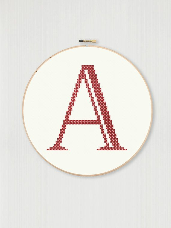 Cross stitch letter A pattern Castellar font instant digital